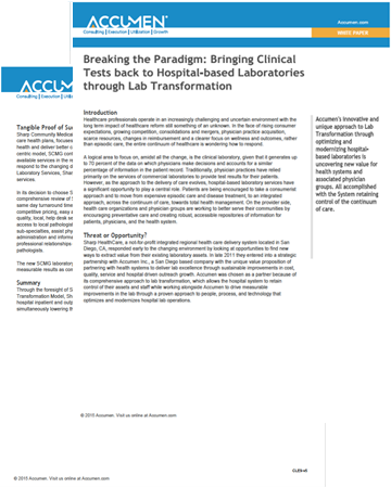 Image for Breaking the Paradigm: Bringing Clinical Tests Back to Hospital-based Laboratories through Lab Transformation