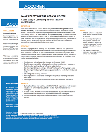 Image for Wake Forest Baptist Medical Center: Controlling Referral Test Cost and Utilization